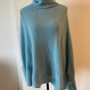 100% Cashmere Light Blue Cowl Neck Poncho Sweater